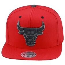 Mitchell & Ness Chicago Bulls Snapback Hat All Red Canvas/Grey Heather Wool Logo