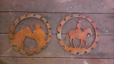 "Lot of 2 Cowboy Horse Rusty Rough 6"" Saw Blade Metal Wall Art Western Craft Sign"
