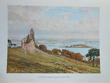 Devon 1925 Antiquarian Print by Sutton Palmer: Plymouth from Mount Edgcumbe