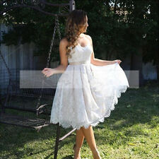 Short Lace A Line Bridal Gowns Cheap Beach Wedding Dress White Ivory Custom 2016