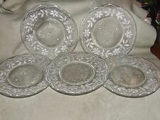 5 Antique Magnificent Stippled Luncheon Plates Lacy Spider Web Diamond Sandwich?