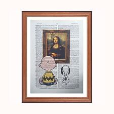 Charlie Brown and Snoopy Vs Leonardo DaVinci - Mona Lisa - dictionary art print