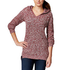 New ULTRA FLIRT Juniors Two Tone Knit Marled Hoodie Tunic Sweater XS Red Cream