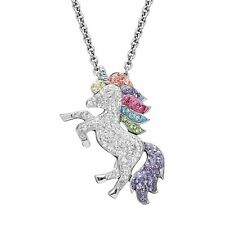 "RAINBOW UNICORN  STERLING NECKLACE! .925! 18"" LOBSTER CLAW CLOSE HORSE SWAROVSKI"