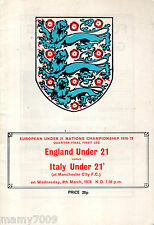 OFFICIAL PROGRAMME=ENGLAND UNDER 21 vs ITALY UNDER 21=8/3/1978=QUARTI DI FINALE