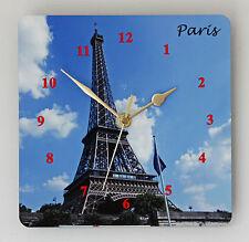 * neuf * français tour eiffel paris horloge murale-vintage shabby chic moderne en bois
