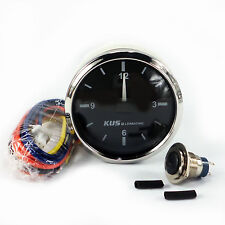KUS Stainless Steel Bezel SUS316 Clock Gauge 12-hour Format 12/24V 52mm Marine