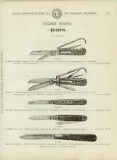 Catalog Page Ad Pocket Knives Folding Stiletto Corkscrew Hoof Cleaner Stag 1902