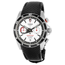 Tudor Grantour White Dial Black Leather Mens Watch 20550N-WMCPL