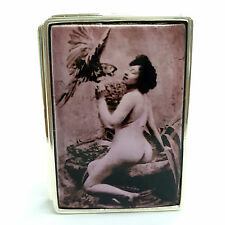 Large Sterling Silver Hallmarked 1910's Enamel Erotic lady & Bird Snuff Pill Box