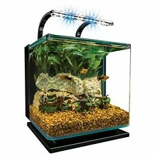 Marineland Contour Glass AQUARIUM KIT, 3-Gallon DESKTOP AQUARIUM + Rail Light