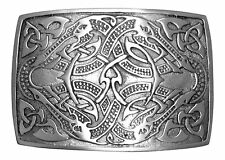 Brushed Antique Pewter Celtic Serpent Kilt Belt Buckle - Made In Scotland