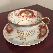 Royal Sealy Collectible Porcelain Cup and Saucer, Lustreware Cranberry and Gold