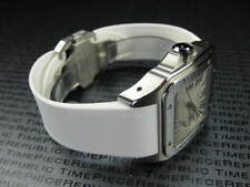 23mm Deployment PU Rubber Diver Strap White Watch Band SANTOS 100 XL Large