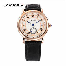 SINOBI Mens Calendar Quartz Leather Wrist Watches Top Luxury Brand Gift Boxed US