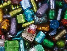 Foil Beads Glass 100g Asst Sizes/Shapes Lampwork Beading Jewellery FREE POSTAGE