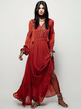 2016 Autumn Free People deep V embroidery cotton blend full-length dress#5207