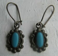 Vintage Native American Indian Sterling Silver Turquoise Pierced Dangle Earrings