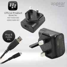 BLACKBERRY GENUINE BLACK MICRO MAINS CHARGER WALL PLUG & BLACK USB DATA CABLE