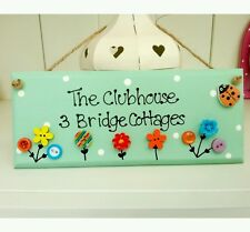 Shabby pretty personalised playhouse plaque wooden sign gift chic