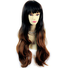 Fabulous Style Black Brown & Red Long Wavy Lady Wigs Dip-Dye Ombre hair WIWIGS.