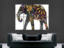 ELEPHANT POSTER ABSTRACT TRIPPY PATTERNS PSYCHEDELIC ART PICTURE PRINT LARGE