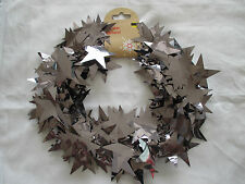 X3 Silver Star Christmas Garlands. 7.5m Foil Wire Christmas Garland Decoration