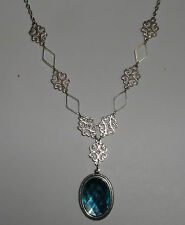 LACY FILIGREE VICTORIAN STYLE TURQUOISE ACR CRYSTAL SILVER PL PENDANT NECKLACE