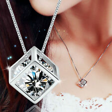 Fashion Women's 925 Sterling Silver Crystal Rhinestone Necklace Chain Pendant