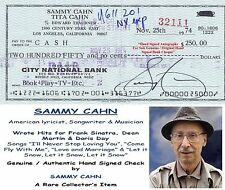 SAMMY CAHN  AMERICAN LYRICIST SONG WRITER & MUSICIAN     HAND SIGNED BANK CHEQUE