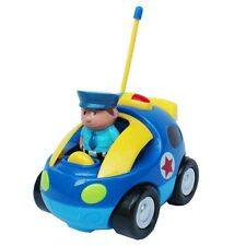Cartoon Police RC Car Remote Control Christmas Toy Gift for Toddlers Blue MC66B
