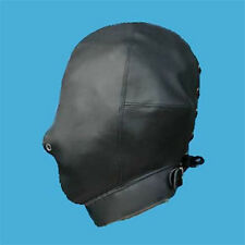 Faux/ PU Leather Full Covered Fetish Hood Mask Costume Party Wear Stage Slave
