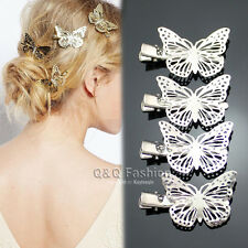 4Pcs Fab Silver Filigree Butterfly French Updo Hair Pin Clip Dress Snap Barrette