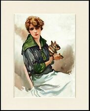 PRETTY LADY HOLDING FRENCH BULLDOG CHARMING DOG PRINT MOUNTED READY TO FRAME