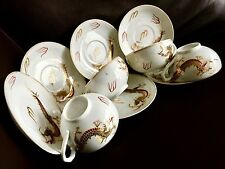 Old Japanese Lithophane Geisha Girl Eggshell Dragon Ware China Cups & Saucers