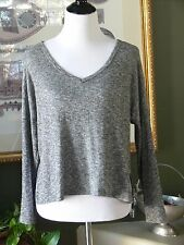 Gaby Gray Ribbed Rayon Cotton Knit Hi Lo Top XL