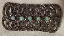 A VERY RARE THEODORE FAHRNER ART DECO SILVER MARCASITE & OPAL BROOCH / PIN TF