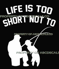 LIFE 2 SHORT FISHING Father Son Fish Rod Reel Lure Car Decal Wall Sticker