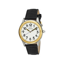 Men's Two Tone Talking Watch White Face Black Leather Band, Voices Male & Female