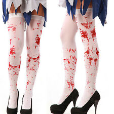 1x Halloween Bloody White Cotton Knee Length Sock Girl Women Stocking TeenAdult