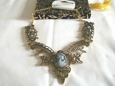 STUNNING NEW STATEMENT ANTIQUE BRONZE  FILIGREE CAMEO  NECKLACE