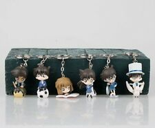 6pcs New Anime Detective Conan Figure Keychain Keyring Cute Gift