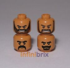 4x Lego Medium Dark Flesh Heads for Indiana Jones, Kazimmmm, Temple Guard lot241