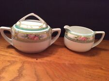 Nippon Creamer and Sugar Bowl with Lid Japan Hand Painted Vintage