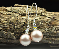 Powder Almond W Swarovski Elements Crystal Pearl Earrings Sterling Silver Filled