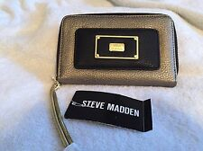 Steve Madden Wristlet Black -Pewter Cell Phone Case Wallet Clutch New