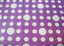 "NEW PURPLE WHITE SPOTTY FLANNEL BACKED VINYL TABLECLOTH 60"" 152cm ROUND UBL"