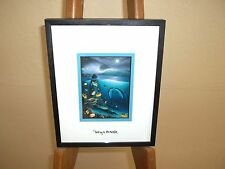 By Wyland Mysteries Of The Sea  Silver Foil Stamp Framed Kissing Dolphins Hawaii