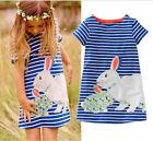 Cute Baby Kids Girls Summer Dress Short sleeve Rabbit Cartoon Dress Clothes 2-7Y