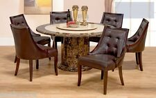 Dining 7 piece set lazy susan marble table ivory color tufted chairs Furniture